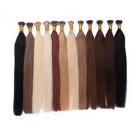 Wholesale 100 Human Hair Brazilian Indian Cambodian Mongolian Peruvian Straight Hair I Tip Hair Extensions inch FDSHINE