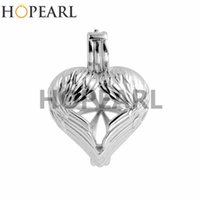 ingrosso ali d'argento-HOPEARL Angel Wings Cage Wishing Pearl Gift 925 Sterling Silver Locket Pendant Settings 3 pezzi