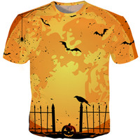 ingrosso lanterna di pipistrello-Cloudstyle Halloween Tshirt Uomo 3D Stampa Bat T-shirt Jack-O'Lantern Tee Shirts Hipster Unisex Streetwear Maglietta uomo Top