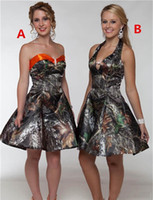 Wholesale knee length wedding dress line sweetheart online - Country Camo Short Bridesmaid Dress Sweetheart Satin A Line Knee Length Maid of Honor Gowns Custom Made Wedding Guest Dress