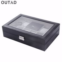 Wholesale Leather Jewelry Box Antique - Wholesale-Watch Casket Boxes 8+3 Mixed Grids 30*20*8cm Leather Suede Inside Word Buckle Storage Jewelry Ring Display Storage Mens Case