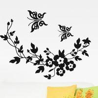 стена наклейка бабочки цветок дома оптовых-Красивая бабочка съемный стены наклейки для спальни дерево цветы стены наклейки гостиная Home Art Decor K513
