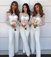 Wholesale beach wedding dresses for guests blue online - 2018 Off Shoulder Lace Jumpsuit Bridesmaid Dresses for Wedding Sheath Backless Wedding Guest Pants Gowns Plus Size Pant Suit Beach