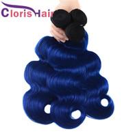 12 inç ombre saç uzantıları toptan satış-Koyu Kökleri 1B Mavi Ombre Örgü Islak Ve Dalgalı Ham Hint Bakire İnsan Saç Demetleri Vücut Dalga Iki Ton Renkli Remy Saç uzantıları