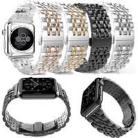 apfeluhr edelstahl schwarz großhandel-New Metal Edelstahl 7 Punkte Uhrenarmband für Apple Watch Iwatch Strap Schwarz Silber Rose Gold Butterfly Verschluss Armband