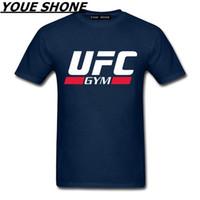 camiseta de los hombres ocasionales al por mayor-Casual Men Brand UFC camiseta Ultimate Fighting Letter Print Camisetas Harajuku Short Sleeve camisetas Adult GYM Cotton Tshirt