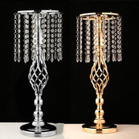 Discount christmas invitation maker - Exquisite Flower Vase iron flower stand Twist Shape Stand Golden  Silver Wedding  Table Centerpiece 52 CM Tall Road Lead Home Decoration