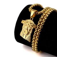 lettres de médaillon en cristal achat en gros de-Hip Hop Hommes Bijoux Jésus JESUS Christ Pendentif Collier avec Maïs longueur de la chaîne 70cm