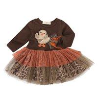 chicas de vestidos de acción de gracias al por mayor-Acción de gracias niñas Turquía vestido de los niños de encaje de tul vestidos de princesa Otoño moda niños Ropa C5385