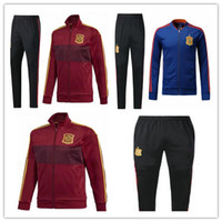 Wholesale track suits jackets - 2018 Spain tracksuit chandal Soccer jacket top quality full zipper training suit A.INIESTA 2018 world cup soccer set track suit