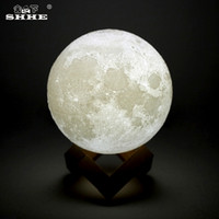 lámpara led recargable de regalo al por mayor-Luz de la noche recargable LED de impresión luna lámpara lunar luna toque mágico luz de luna llena portátil 2 colores cambiar el regalo del bebé luz nocturna