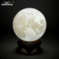 ingrosso lampada ricaricabile del regalo-Ricaricabile LED Night Light 3D Print Moon Lamp Luna Magic Touch Full Moonlight Portable 2 colori Cambia Baby Nightlight regalo