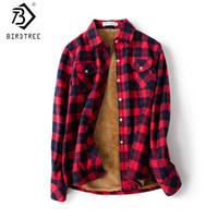 camisas casuales a cuadros al por mayor-Camisa a cuadros de terciopelo grueso caliente de las mujeres femeninas de manga larga tops M-XXL Winter Fleece Casual cheque blusa ropa de otoño T77710A