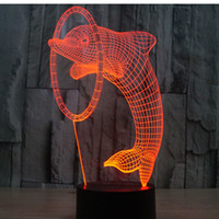 Wholesale Led Night Light Dolphin - 3D LED Night Light Dolphin with 7 Colors Light for Home Decoration Lamp Amazing Visualization Optical Illusion Awesome