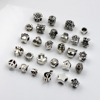 Wholesale 5mm flower beads - 28pcs lot 5mm Hole-diameter Mix Styles Loose Beads Charm DIY Jewelry Accessory Pendant For Keyring Bracelet Necklace