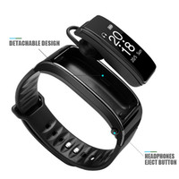 Wholesale wrist bluetooth headset - For iphone samsung smartphones y3 smart watch Bracelet 2 in 1 bluetooth headphones headset Heart Rate Monitor 2018