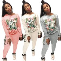 Wholesale best women s clothing online - Love pink women tracksuit sweater with pants piece sweatsuit PINK Letter palm flower printed Sportswear spring autumn outfits clothes best