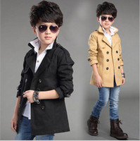 Wholesale long down coat girls - boys coat 2018 autumn new styles Mid length styles button casual long sleeve pure color cotton coat 3 colors free shipping