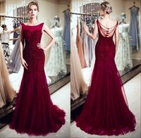 Wholesale mermaid dress stones for sale - Luxury Burgundy Tulle Mermaid Long Evening Dresses Scoop Neck Real Image Major Beaded Stones Formal Party Prom Dresses CPS1179