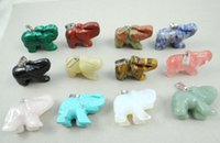 edelsteine perlen halskette großhandel-40 * 27MM natürlicher Stein Elefant mischte Steinanhängeredelsteinhalskettenkorne R45