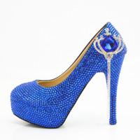 seksi ayakkabı platformu mavi toptan satış-Moda el yapımı Mavi Taç püskül kristal platformu Yüksek Topuklu Düğün ayakkabı Gelin yuvarlak ayak Yüksek Topuklu seksi Parti Balo Ayakkabı Artı Boyutu