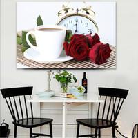 ölgemälde leinwand für küche großhandel-1 Stücke Moderne Küche Decor Wandkunst Poster Kaffee Rose Blume HD Leinwand Ölgemälde Wohnkultur Bilder Schlafzimmer Kein Gestaltet