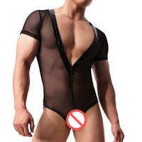 mono transparente al por mayor-Hombres sexy de Nylon Negro Malla de Lucha Singlet Bikini Jumpsuit Suspender Sexy Body Teddies Ropa Interior Transparente Transpirable Body