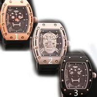 Wholesale skull silver belt buckle - 2018 Casual Fashion Skeleton Watches men Luxury brand Army Skull sport quartz watch from alina