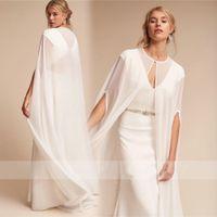 şifon silkmek toptan satış-Şimdi Düğün Palto Gelin Pelerin Ceketler Sweep Beyaz Düğün Şifon Omuzlarını Silkiyor Özel Durum Sarar Ücretsiz Kargo