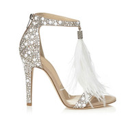 Wholesale fashionable classic pu leather online - Summer pure color drill sexy feather sandal paillette and tassels fashionable and elegant women s sandals wedding shoes T595