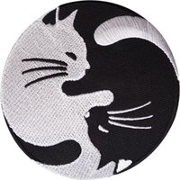 Wholesale Diy Cat Bag - Embroidery Sewing Iron On Double White Black Yin Yang Cats Patches Creative Badge For Bag Jeans Hat Appliques DIY Sticker Decoration