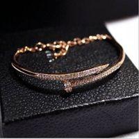 Wholesale White Diamonds Polish - New European and American trend temperament diamond color bracelet bracelet nail polish genuine gold color female