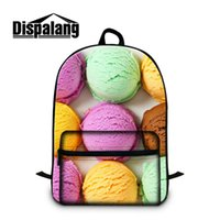 Wholesale book computers - Cool Back To School College Womens Backpack Schoolbags Big Girls Book Rucksack With Laptop Pouch Candy Print Trip Outdoor 3D Pattern Bagpack