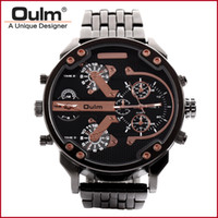 мужчины часы китай марка оптовых-Man Wristwatch China Manufacturer Oulm  Quartz Watches Men Watch Men Big Dial Analog Dial Display New with tags HT3548