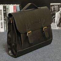 men s leather handbags NZ - Male Men`s Vintage Messenger Shoulder Portfolio Laptop Office Handbag PU Leather Briefcase Bag Case Top Grade