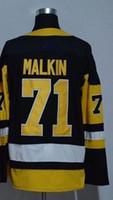 malkin siyah buz mayo toptan satış-17-18 87 Sidney Crosby Forması 2018 Yeni Sezon 71 Evgeni Malkin 81 Phil Kessel Formalar Buz Siyah Beyaz 72 Patric Hornqvist