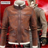 Wholesale costume resident evil - Biohazard Resident Evil 4 Costume Leather Coat Jacket Cosplay PU Faur Jacket Thick Winter Outerwear Motorcycle Biker