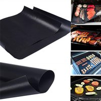 Wholesale Teflon Mat - BBQ Grill Mat 5pcs lot Reusable Non Stick BBQ Grill Mat 40*33cm Teflon Fiberglass Sheets Portable Easy Clean Outdoor Cooking Tool BBQ Liner