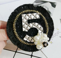 Wholesale indian fabric wedding dress - Europe Fashion Number 5 Brooches Badge Handmade Tassel Fabric Pearl Corsage Brooch Pins For Women Suit Dress Accessories Wedding Jewelry