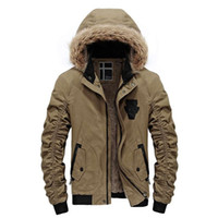 Wholesale down parka mens fur - Down Jacket Men Fur Collar Thick Hooded Winter Jacket Men Stand Collar Parkas Fashion Casual Windproof Coat Mens Brand