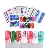 набор рождественских наклеек оптовых-42pcs/sets Christmas Colorful Cool Slider Nail Art Water Decals Sticker Kits for Manicure Nail Art Decorations TRWG201-245