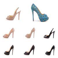 yüksek tabanlar ayakkabı mens toptan satış-Klasik Kadın Erkek Marka Kırmızı Dipleri Yüksek Topuklu Patent Deri Platformu burnu Sandalet Tasarımcı Elbise Ayakkabı Lüks Kırmızı Taban Düğün Ayakkabı
