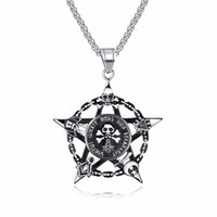 Wholesale pirate pendant stainless for sale - Group buy Fashion Jewelry Pirate Head Necklace For Men Star Pendant Skull Men Necklace Stainless Steel Male Vintage Cool Jewelry