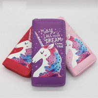 Wholesale zipper fabric wallet for sale - Group buy Multi Function Cartoon Printing Unicorn Wallet Long Style Zipper Storage Package Lovely Student Coin Purse Simple Practical jr Y