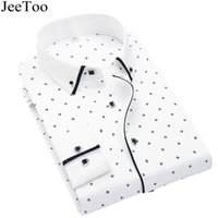 Wholesale dress shirt mens - JeeToo Brand 2017 Mens Shirts Long Sleeve Slim Fit Mens Dress Shirts Cotton Print Casual Autumn White Chemise Homme