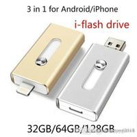pad pod achat en gros de-HOT I-FlashDrive Lecteur flash USB HD Pendrive Lightning Données pour 3 en 1 pour Android / Téléphone / Pad / Pod, Clé USB pour PC / AC 64 Go