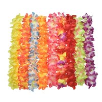 Wholesale hawaiian flowers free shipping resale online - Party Beach Tropical Flowers Necklace Hawaiian Luau Petal Leis Festival Party Decorations Wedding Supplies