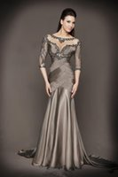 ruched pink mother bride dress NZ - Mother Of The Bride Dresses Mermaid Half Sleeves Gray See Through Beaded Backless Long Brides Mother Dresses For Weddings 2018