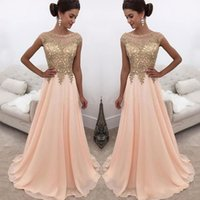 Wholesale Cheap Long Peach Prom Dresses - 2018 Modest Peach Prom Dresses Sheer Neck Gold Appliques Beads Cap Sleeve A Line Long Evening Party Special Occasion Gowns Cheap Customized
