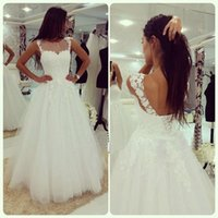 2018 Vintage A-Line свадебные платья Sheer Neck Cap Sleeve Lace Up Back Appliques Lace Long Bridal Gown vestido de noiva